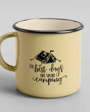 The best days are spent camping enamel tin mug 1