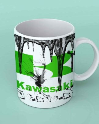 Kawasaki motorcycle oil coffee mug