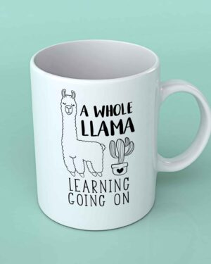 A whole llama learning going on coffee mug
