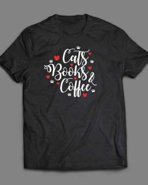 Cats books and coffee T-shirt