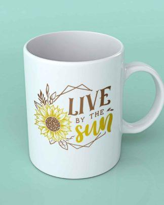 Live by the sun sunflower coffee mug
