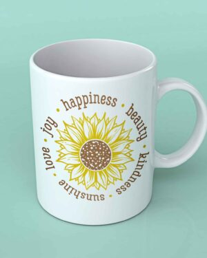 Love Beauty kindness sunflower coffee mug