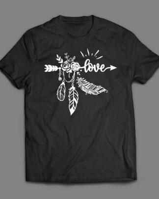 Love Wild Boho arrow and feathers T-shirt