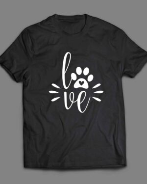 Love and Paw with heart Dog T-shirt