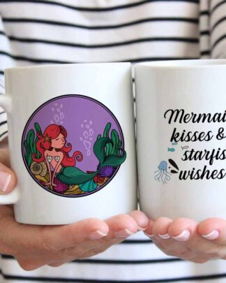 Mermaid kisses and starfish wishes coffee mug