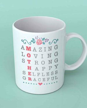 Mother scrabble words coffee mug