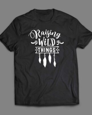 Raising wild things Boho arrow and feathers T-shirt