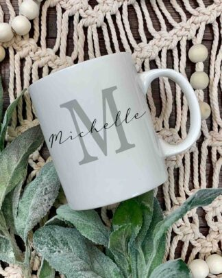 Initial and name coffee mug
