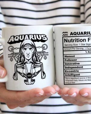 Aquarius star sign nutrition facts coffee mug
