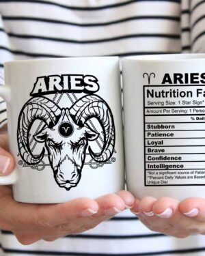Aries star sign nutrition facts coffee mug
