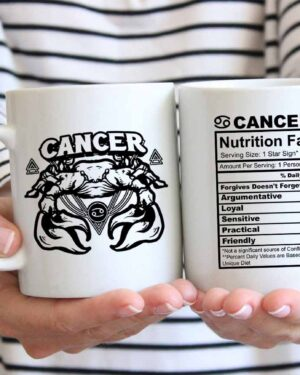 Cancer star sign nutrition facts coffee mug