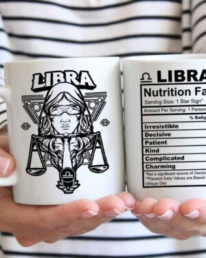Libra star sign nutrition facts coffee mug