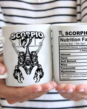 Scorpio star sign nutrition facts coffee mug