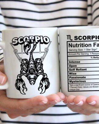 Scorpio star sign nutrition facts coffee mug