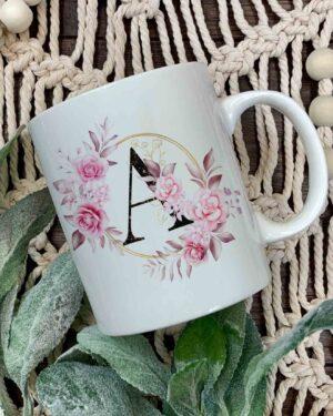 Floral Initial coffee mug