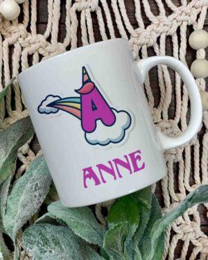 Unicorn Initial and name coffee mug