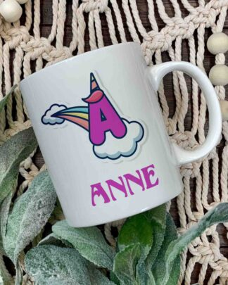 Unicorn Initial and name coffee mug
