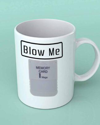 Blow me play station 1 memory card coffee mug