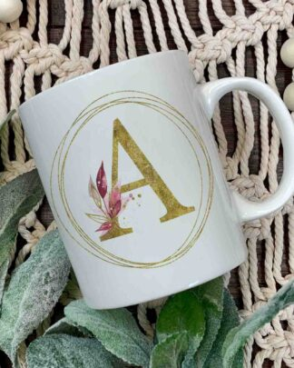 Gold Floral initial coffee mug