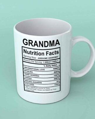 Grandma Nutritional facts coffee mug