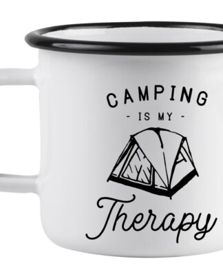 Camping is my therapy enamel mug