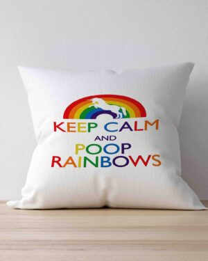Keep Calm and poop Rainbows scatter cushion