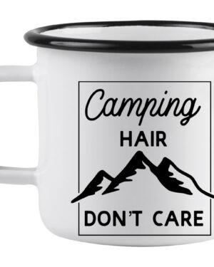 Camping hair don't care white enamel mug
