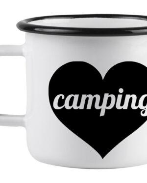 Camping love heart enamel mug