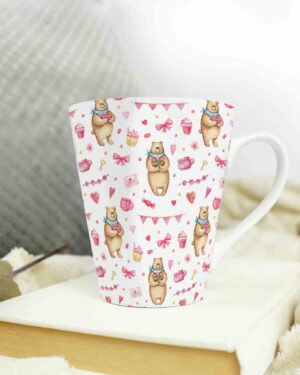Cone shape latte coffee mug love pattern 2