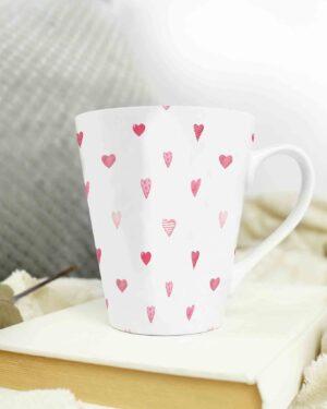 Cone shape latte coffee mug love pattern 5