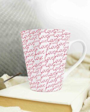 Cone shape latte coffee mug love pattern 6