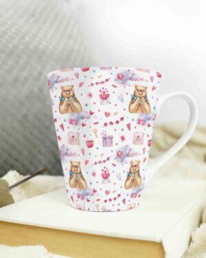 Cone shape latte coffee mug love pattern 7