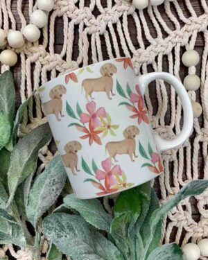 Dachshund and flower pattern coffee mug