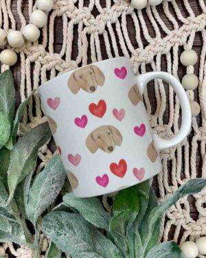 Dachshund and hearts pattern 2 mug