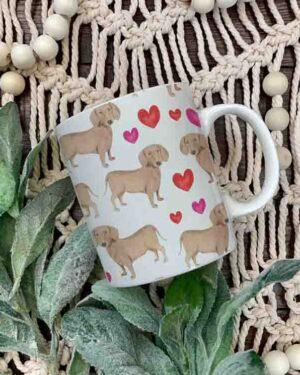 Dachshund and hearts pattern mug