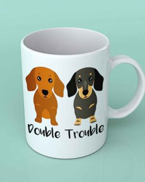 Double trouble dachshund coffee mug